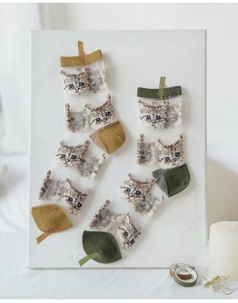LADIES GRENADINE CAT ANKLE SOCKS 【ONLY FOR AGENT】
