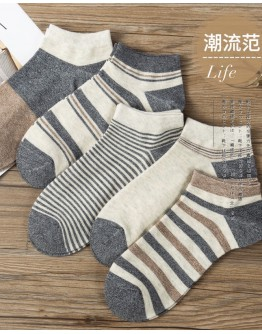FREE SHIPPING MENS FREE SIZE STRIPE 10 PAIRS ANKLE SOCKS