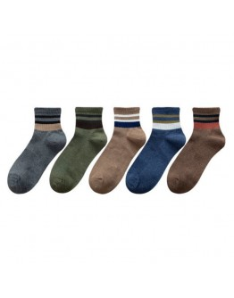 FREE SHIPPING MENS FREE SIZE STRIPE 5 PAIRS SOCKS