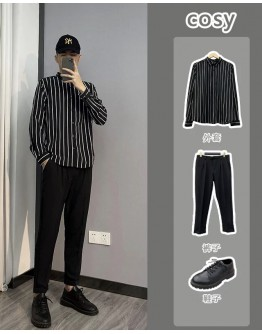 MENS STRIPE SHIRT / SUIT PANTS/ LOOSE COAT