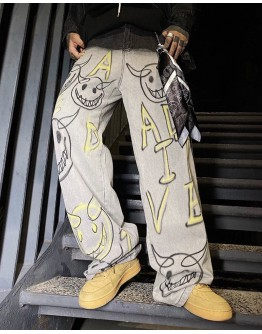 MENS PAINTED DEVIL PATTERNED LOOSE JEANS