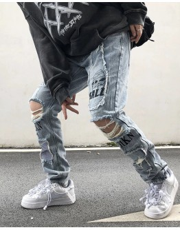 MENS UFO RIPPED REGULAR JEANS