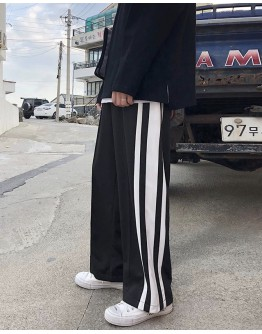 MENS STRIPE LOOSE ELASTIC TROUSERS