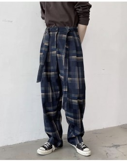 FREE SHIPPING MENS CHECKED PANTS / BLACK PANTS