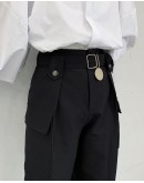 FREE SHIPPING MENS ROUND METAL CULOTTES PANTS