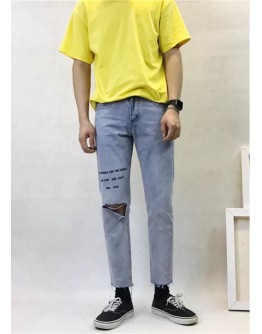 【GS】MENS EMBROIDER DISTRESSED REGULAR JEANS