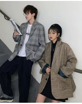 UNISEX FREE SHIPPING CHECKED OVER-SIZE COAT