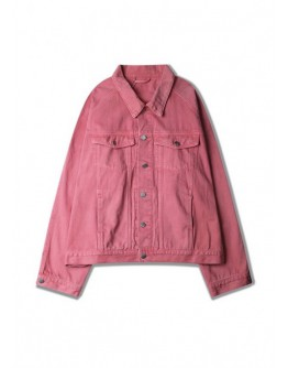 【GS】FREE SHIPPING UNISEX OVER-SIZE LOOSE DENIM PINK JACKET