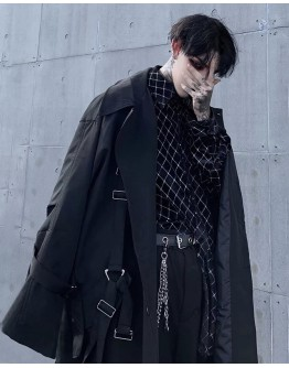 MENS TIE-BELT LONG-LINE COAT