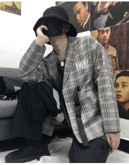 UNISEX CHECKERED EMBROIDER COAT