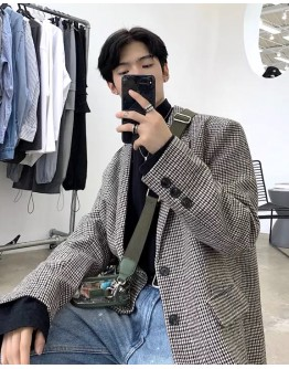 FREE SHIPPING MENS CHECKED LOOSE LONG-LINE COAT