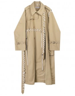 FREE SHIPPING MENS LACE-UP LONG-LINE COAT