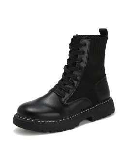 MENS LACE-UP FAUX LEATHER ANKLE BOOT