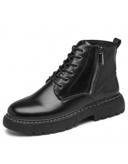 MENS ZIPPER LACE-UP FAUX LEATHER BOOT