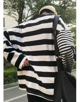 【GS】FREE SHIPPING UNISEX ASYMMETRICAL STRIPE TOPS