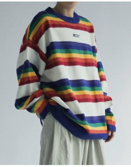 FREE SHIPPING MENS RAINBOW KNITTED AW SWEATER
