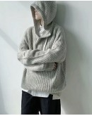FREE SHIPPING MENS KNITTED HOODIE OVER-SIZE SWEATER