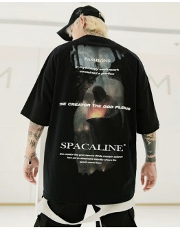 FREE SHIPPING MENS SPACALINE PRINT LOOSE TOPS