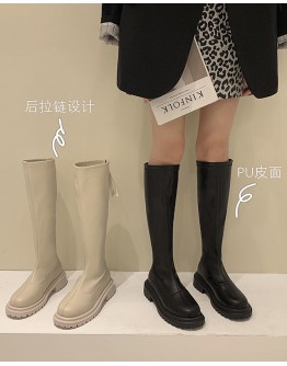 FAUX LEATHER ZIPPER KNEE-HIGH BOOTIES