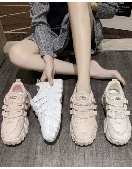 FAUX LEATHER LOW-TOP SNEAKERS