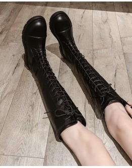 LADIES FAUX-LEATHER LACE-UP BOOTIES
