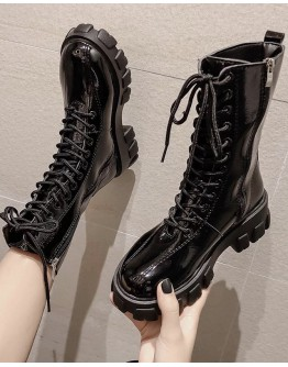 LADIES FAUX-LEATHER LACE-UP ANKLE BOOTIES