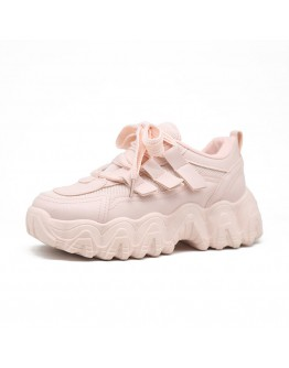 FREE SHIPPING FAUX LEATHER PLATFORM SNEAKER