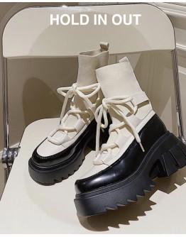 FREE SHIPPING FAUX LEATHER PLATFORM BOOTS