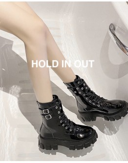 FREE SHIPPING FAUX LEATHER METAL RINGS BOOTS