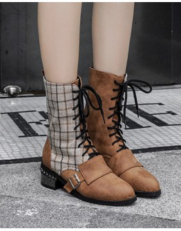 LADIES CHECKED PLUS ANKLE BOOTIES