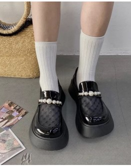FREE SHIPPING LADIES FAUX PEARL PLATFORMS LOAFERS