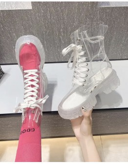 FREE SHIPPING LADIES TRANSPARENT LACE-UP BOOTIES + FREE SOCKS