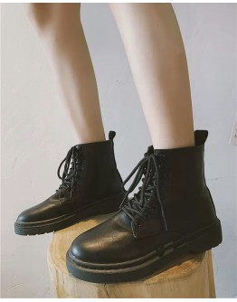 LADIES FAUX LEATHER ANKLE BOOTIES