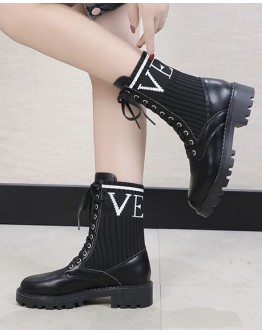 【GS】FREE SHIPPING LADIES FAUX LEATHER KNIT BOOTIES