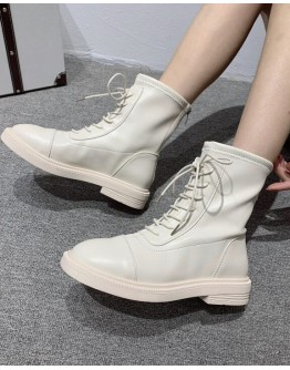 LADIES FAUX LEATHER LACE-UP ANKLE BOOTIES