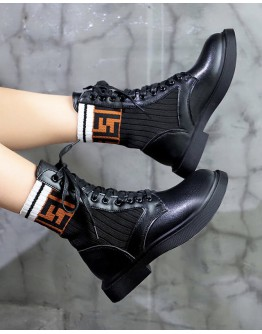 LADIES FAUX LEATHER LACE-UP F ANKLE BOOTIES
