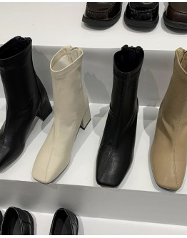 LADIES FAUX LEATHER SQUARE ANKLE ZIPPER BOOTIES