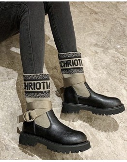 LADIES TIE-BELT KNITTED FAUX LEATHER BOOTIES