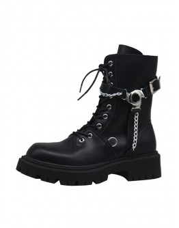 FREE SHIPPING LADIES CHAIN ZIPPER BOOTIES