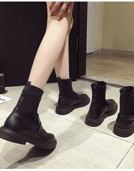 LADIES FAUX LEATHER KNITTED ANKLE BOOTIES