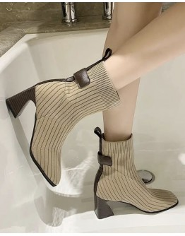 LADIES KNITTED HIGH ANKLE BOOTIES