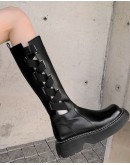 FREE SHIPPING CUT-OUT LACE-UP PATTERN LEATHER BOOTIES