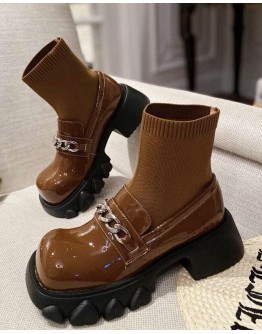 FREE SHIPPING LADIES CHAIN FAUX LEATHER KNITTED BOOTIES