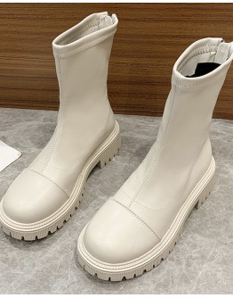 FREE SHIPPING LADIES FAUX LEATHER ZIPPER BOOTIES