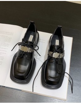 FREE SHIPPING LADIES FAUX LEATHER METAL BELT BROGUES SHOES