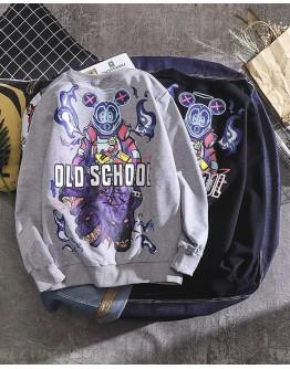 UNISEX OLD SCHOOL PRINT THIN SWEATER