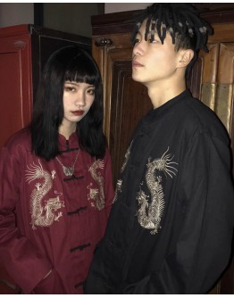 UNISEX EMBROIDER DRAGON LONG-SLEEVED POLYESTER TOPS