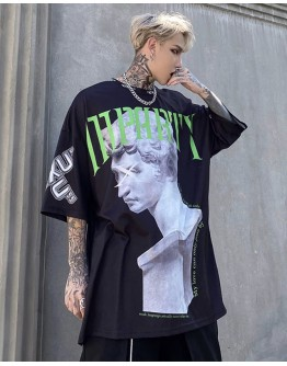 UNISEX STATUE OVER-SIZE PRINT TOPS