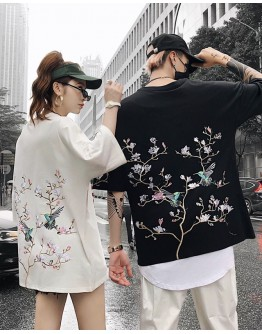 UNISEX EMBROIDER  SAKURA LOOSE TOPS