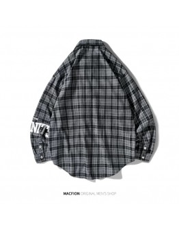 UNISEX CHECKERED LONGER-BACK-SECTION PLUS SHIRT